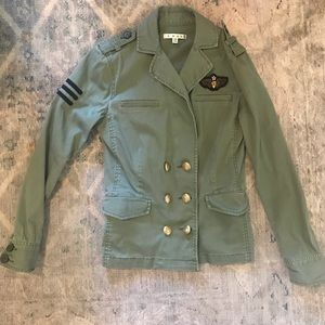 CAbi Sargent military style olive green jacket XS